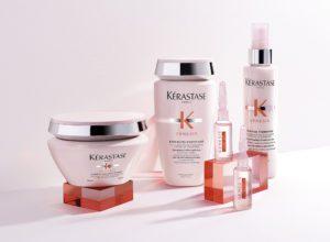 fem lyserøde produkter fra kerastase